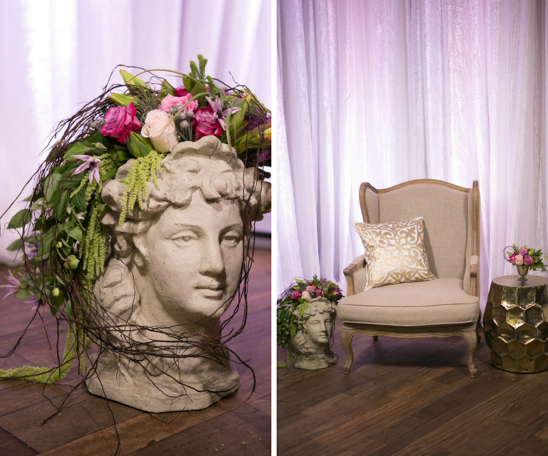 French Marie Antoinette Inspired Wedding Reception Decor Statue with Tropical Flowers and Greenery
