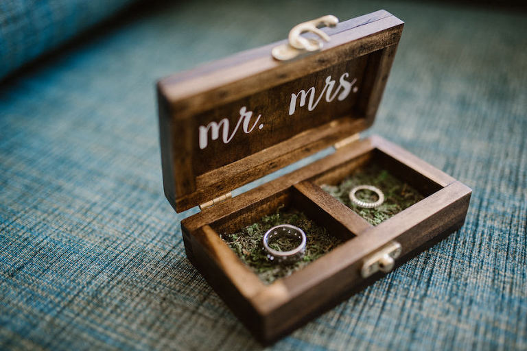 Mr and Mrs Wooden Ring Box Wedding Detail Photo