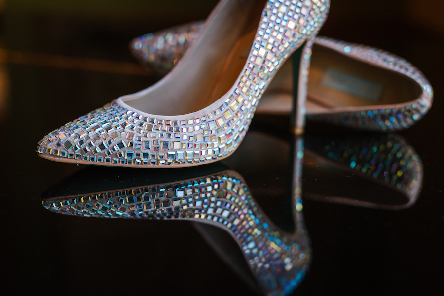 Mirror Encrusted Glittering Wedding Shoes with Stiletto Heel
