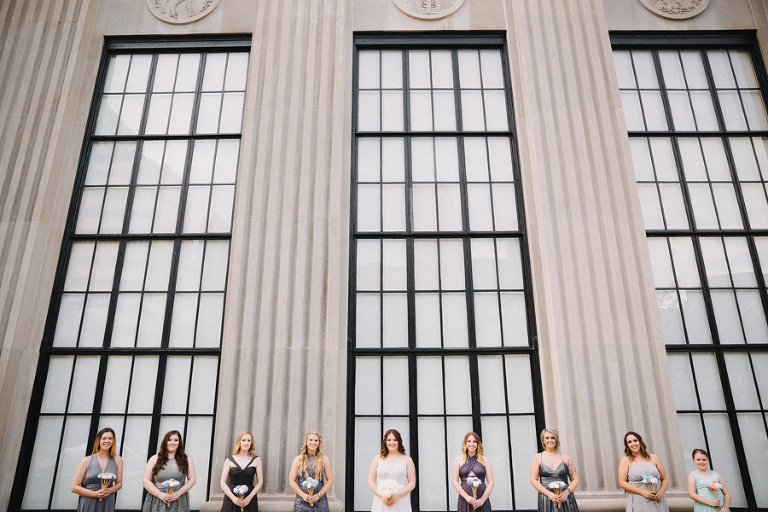 Downtown Tampa Outdoor Industrial Bridal Party Portrait with Mismatched Gray Bridesmaids Dresses | Tampa Bay Wedding Venue The Vault