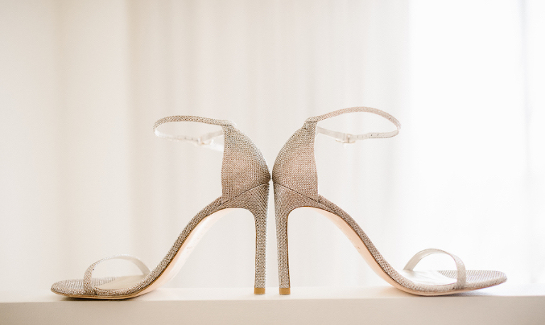 Glamorous Silver Ankle Strap Stiletto Wedding Shoes