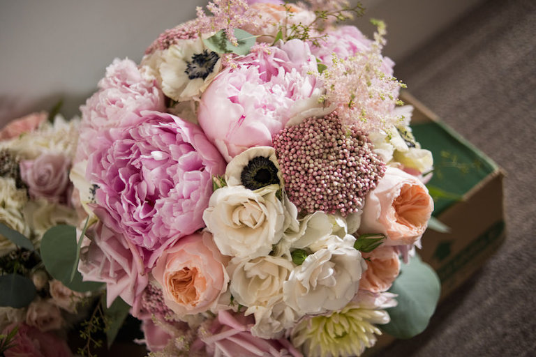 Peach and Blush Rose, Pink Peony, and White Anemone Wedding Bouquet with Greenery