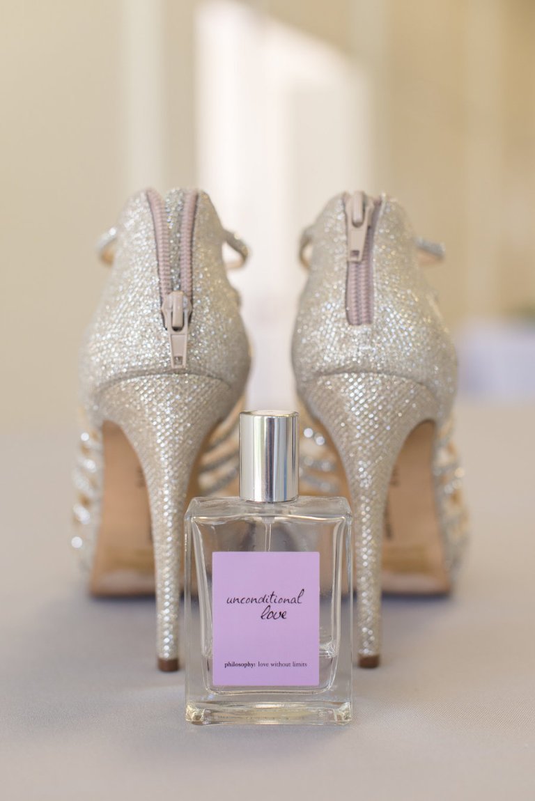 Glitter Stiletto Cream Wedding Shoes with Philosophy Perfume