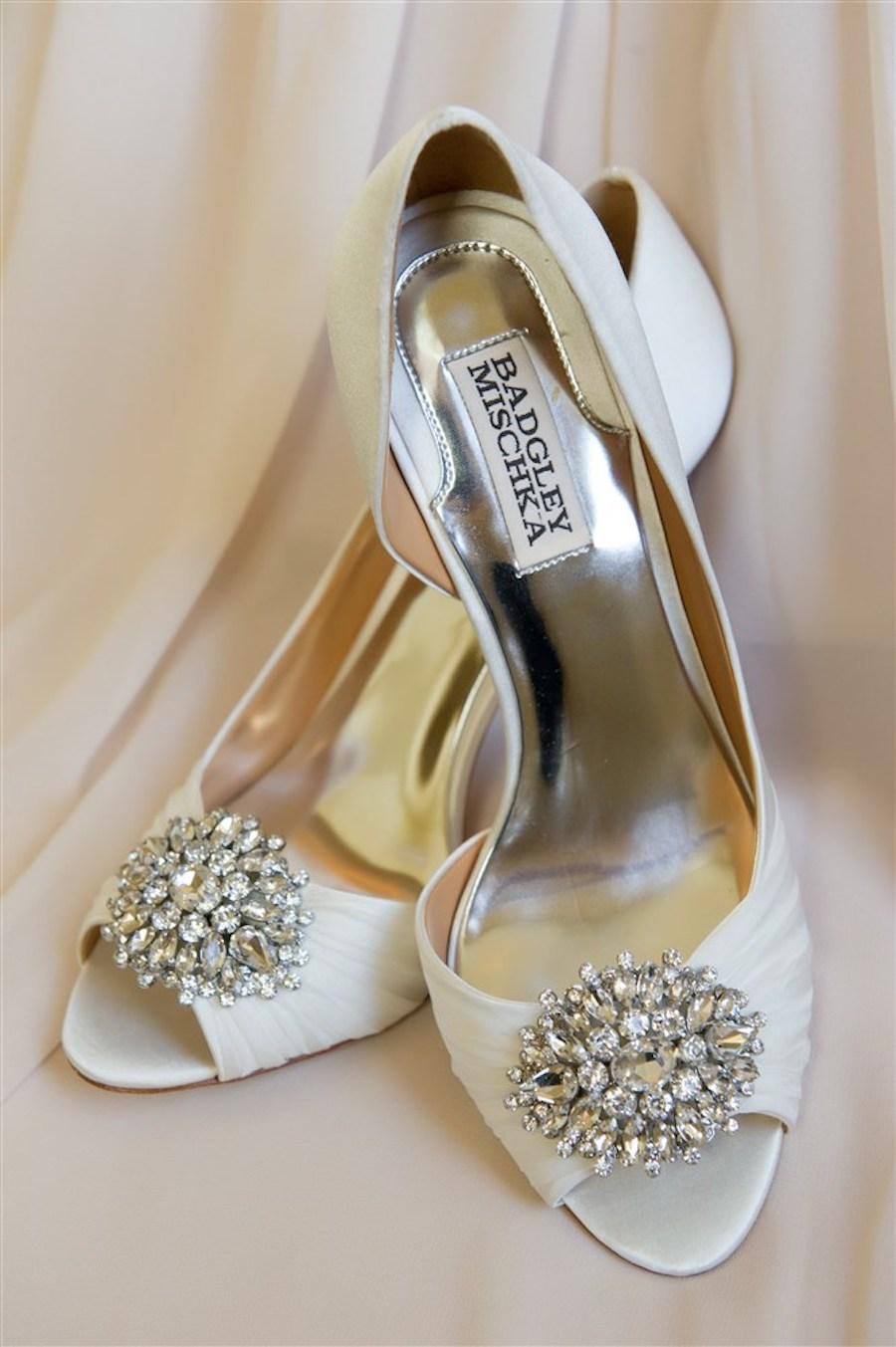 Peep Toe Ivory Badgley Mischka Wedding Shoes with Rhinestone