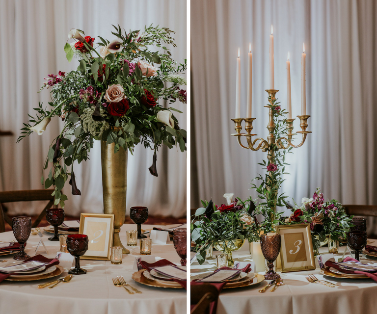 Romantic Vintage Glam Wedding Reception Centerpieces and Decor with Tall Gold Greenery and Candelabra Centerpieces | Planner Southern Glam Weddings & Events | Unique Tampa Bay Wedding Venue Safety Harbor Resort and Spa Theatre | Dish Rentals Ever After Vintage Weddings