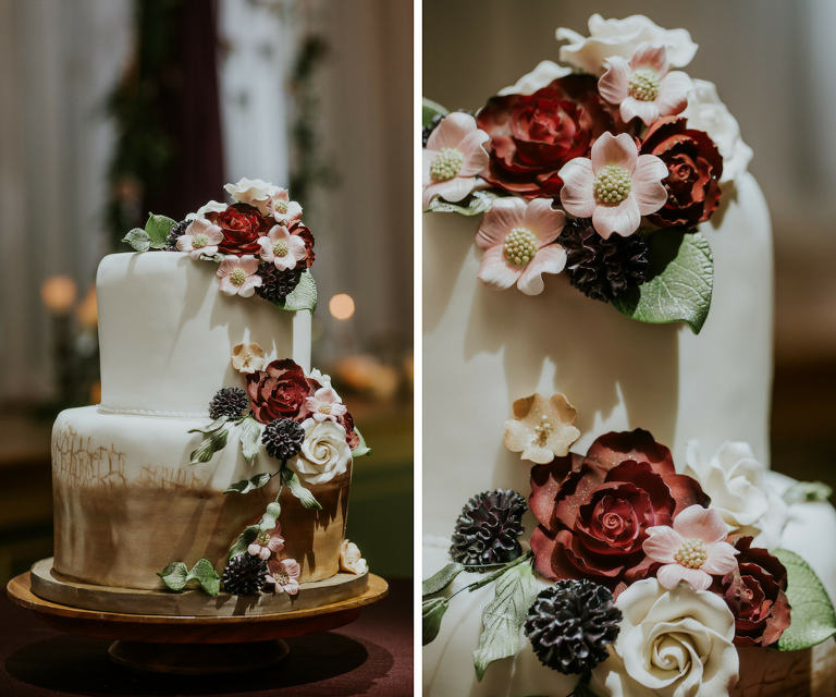 Two-Tier Round Wedding Cake Dipped in Gold Ombre with Red and Pink Sugar Flowers| Tampa Bay Wedding Cake Alessi Bakeries