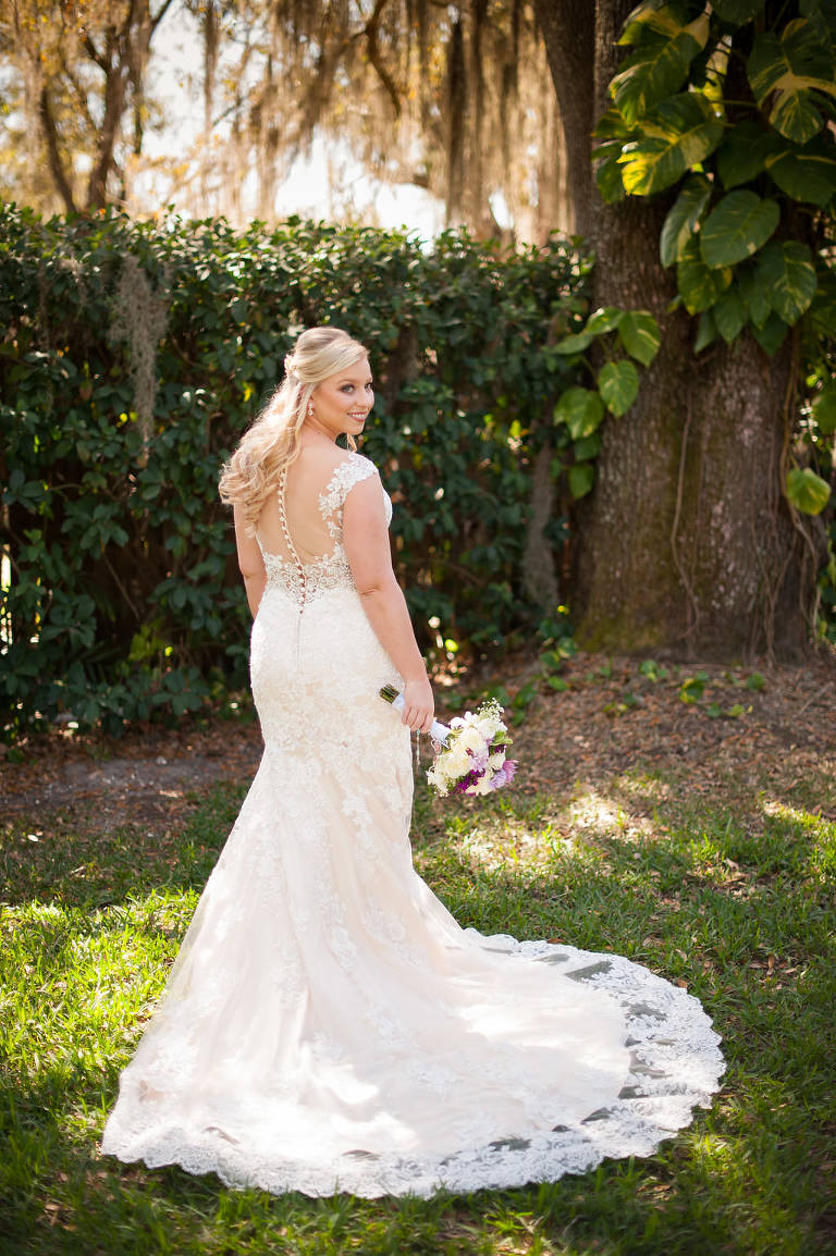 Outdoor Garden Bridal Portrait in Allure Bridal Lace Back with Button Wedding Dress | Tampa Bay Wedding