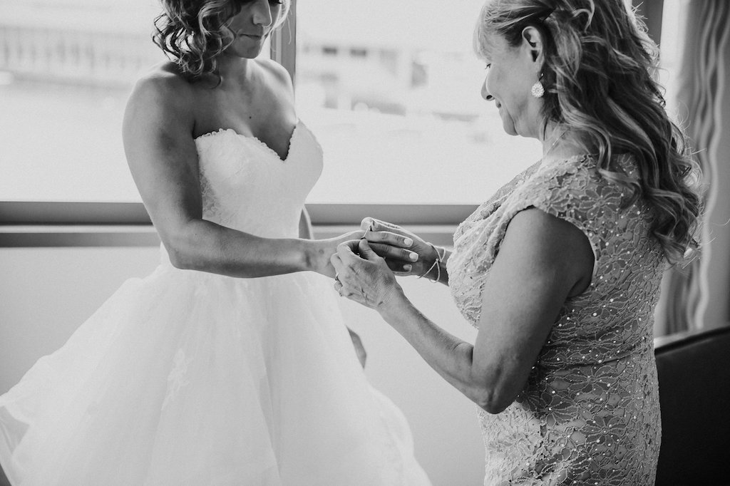 Bride and Mother of the Bride Getting Ready Portrait, in Stella York Sweetheart Ballgown Wedding Dress with Layered Skirt   Tampa Bay Wedding Photographer Rad Red Creative