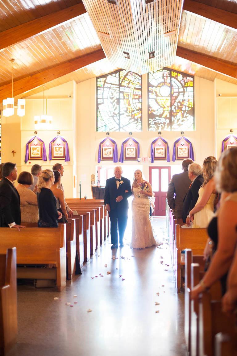 Wedding Ceremony Aisle Portrait at Corpus Christi Catholic Church, Temple Terrace FL