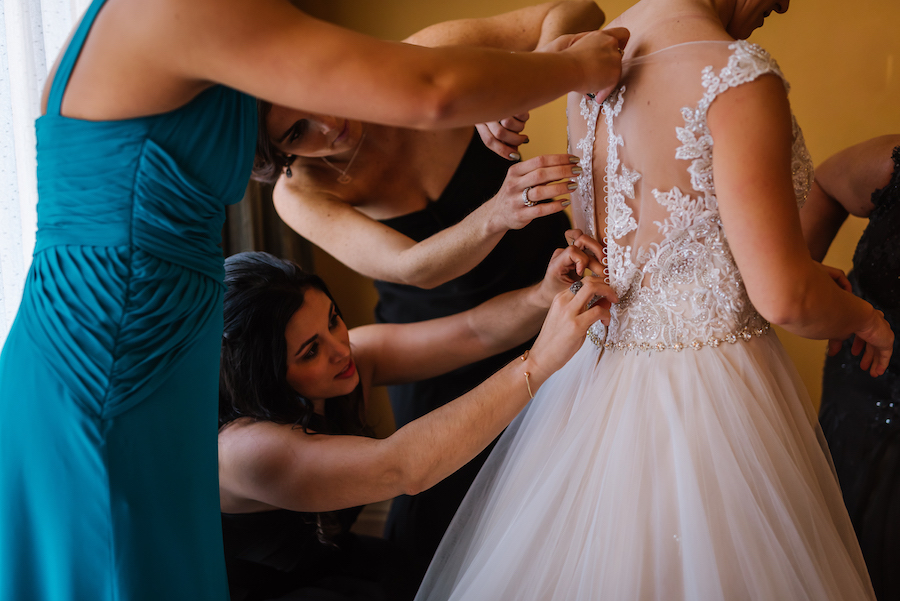 Bride Getting Ready Portrait in Roaring 20s Vintage Inspired Lace Backed Wedding Dress