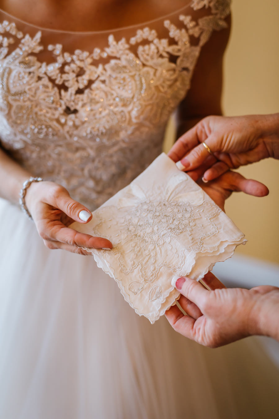 Bride with Vintage Lace Handkerchief