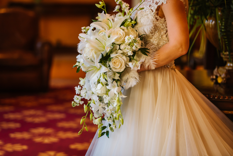 Roaring 20s Inspired Wedding Bouquet with White Roses, Greenery, and Feathers