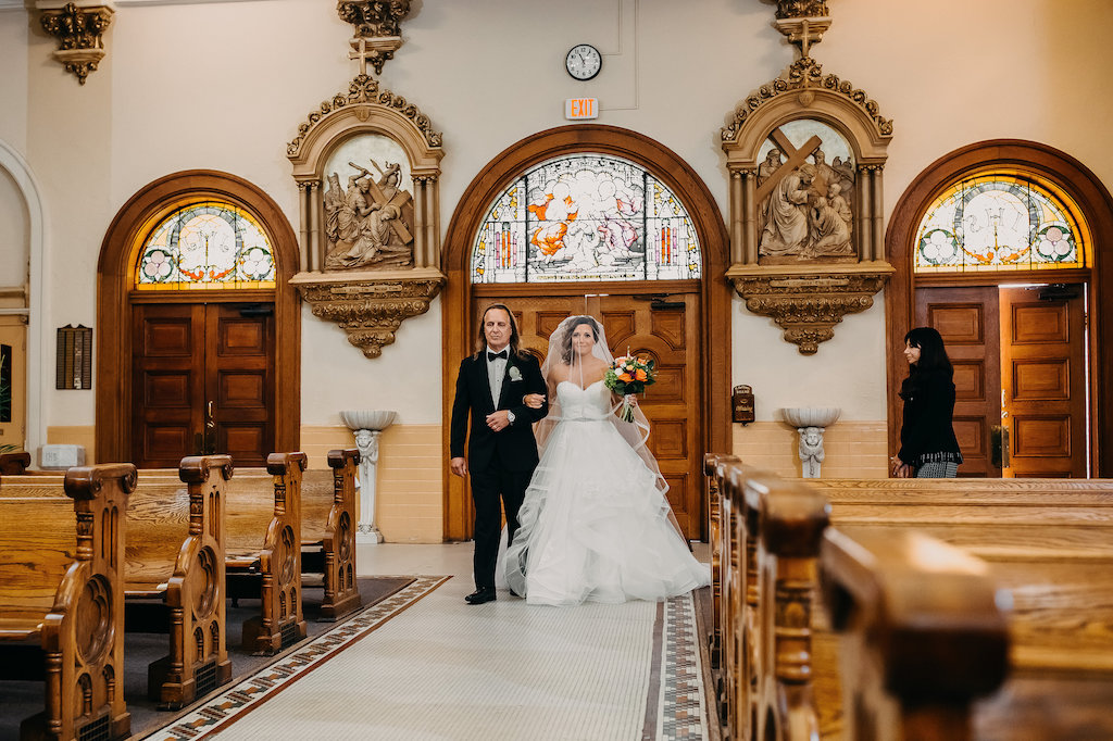 Traditional Church Wedding Ceremony Portrait with Orange and Greenery Tropical Bouquet, Stella York Wedding Dress with Layered Skirt   Downtown Tampa Wedding Photographer Rad Red Creative   Sacred Heart Catholic Church