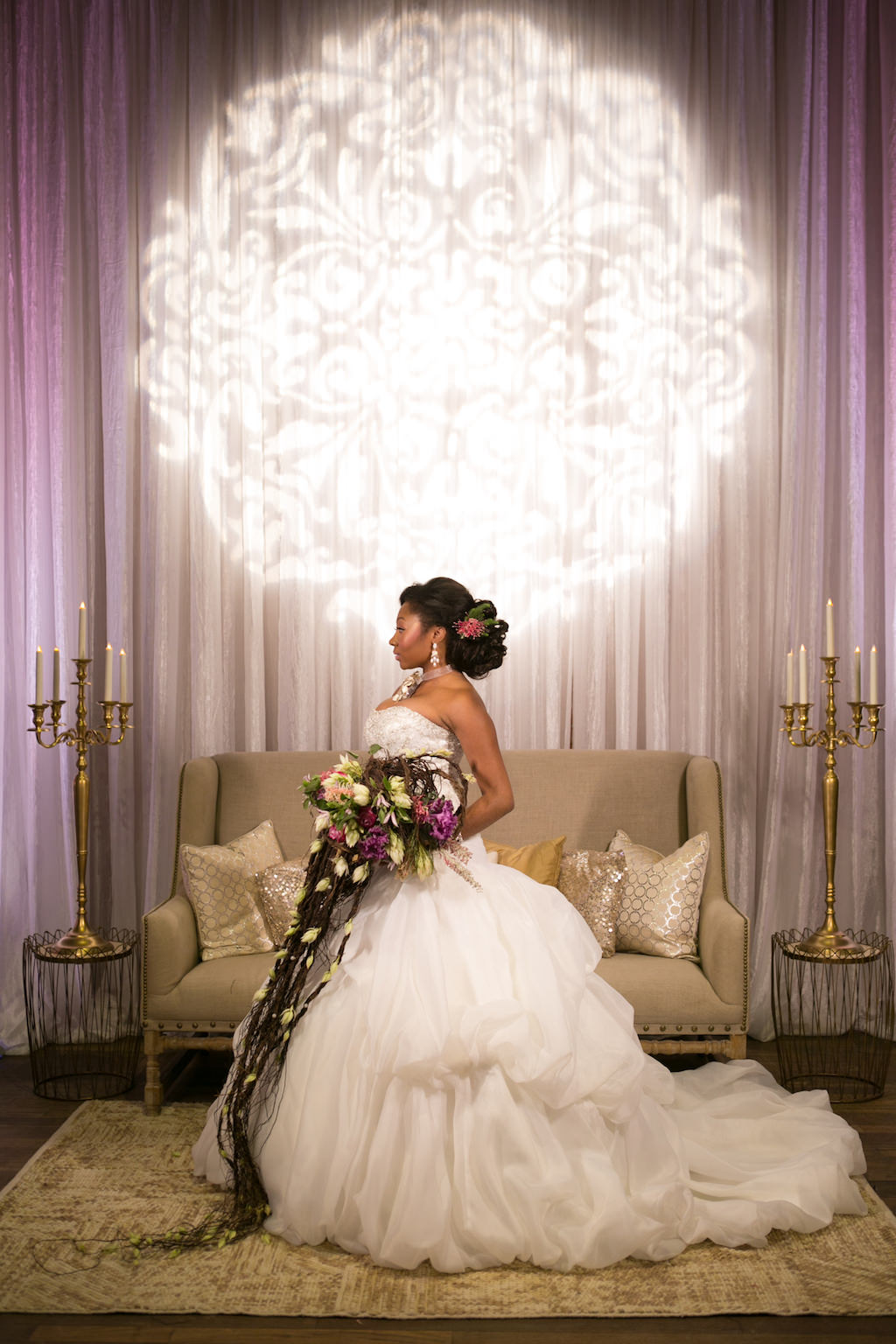French Inspired Marie Antoinette Bridal Portrait with Cascading Natural Tropical Wedding Bouquet | Ballgown Wedding Dress from Tampa Bay Bridal Shop Truly Forever Bridal | Tampa Bay Wedding Photographer Carrie Wildes Photography