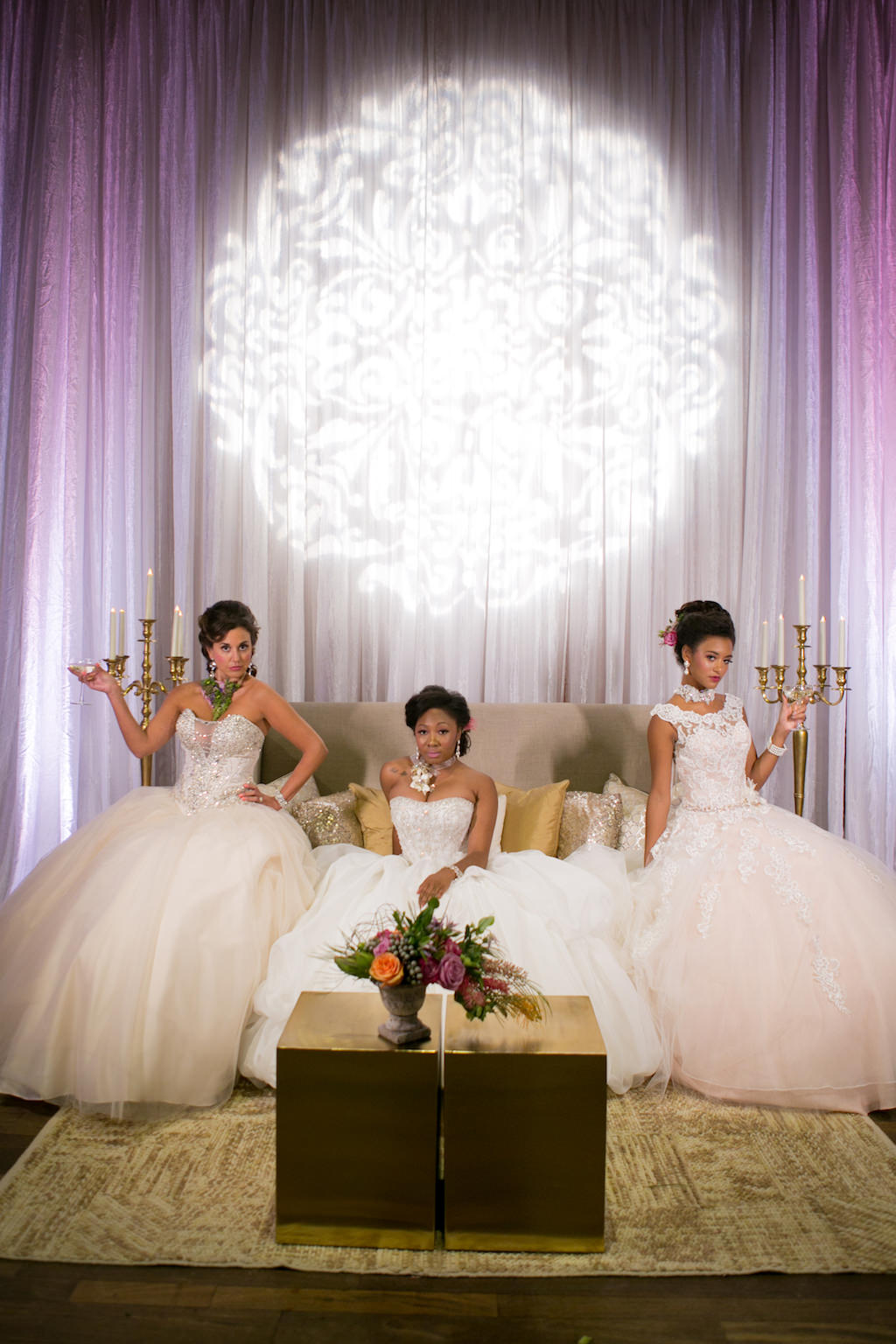 French Inspired Marie Antoinette Brides in Blush Ballgown Wedding Dresses with Tropical Florals and GOBO on Drapery | Tampa Bay Wedding Photographer Carrie Wildes Photography | Planner UNIQUE Weddings and Events | Dress Shop Truly Forever Bridal
