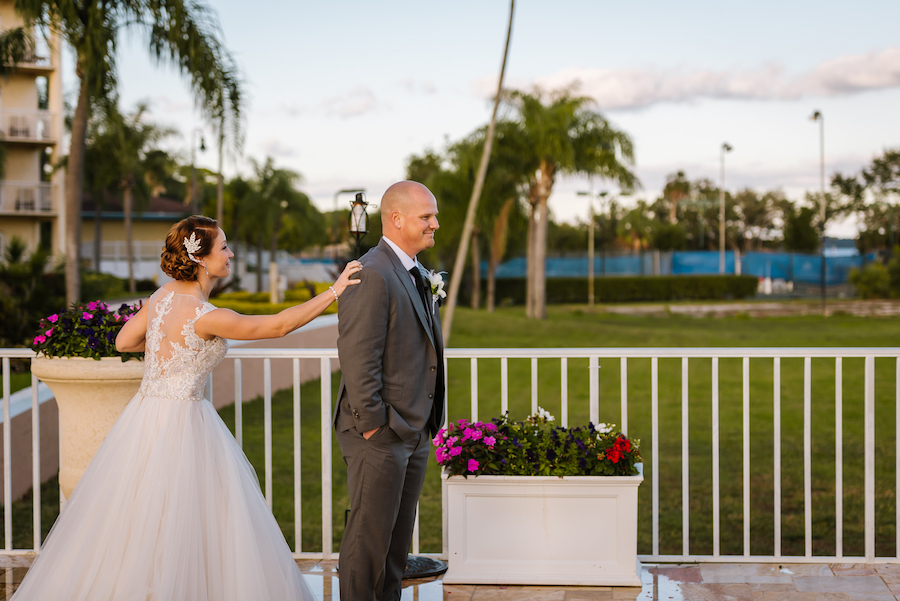 Outdoor First Look Portrait   Tampa Bay Wedding