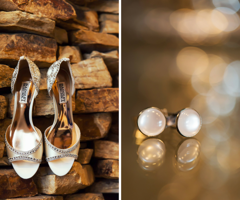 Badgley Mischka Rhinestone Open Toed Wedding Shoes and Groom's Pearl Cufflinks