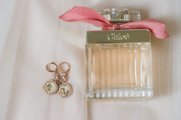 Bridal Accessories Wedding Details Photo with Gem Earrings and Chloe Perfume