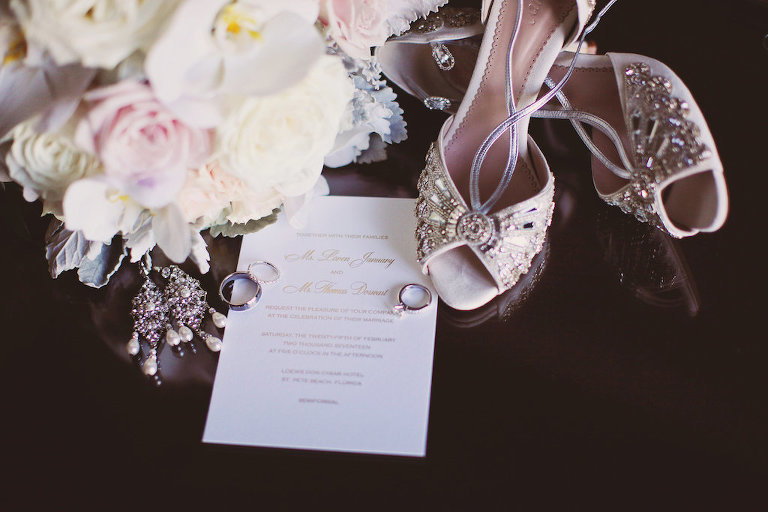 Vintage Glam Style Bridal Accessories with Beaded Blush Peep Toe Wedding Shoes and Pearl Drop Beaded Earrings, White Orchid And Blush Pink Bouquet with Greenery, Engagement Ring and Wedding Band, and Gold and White Invitation