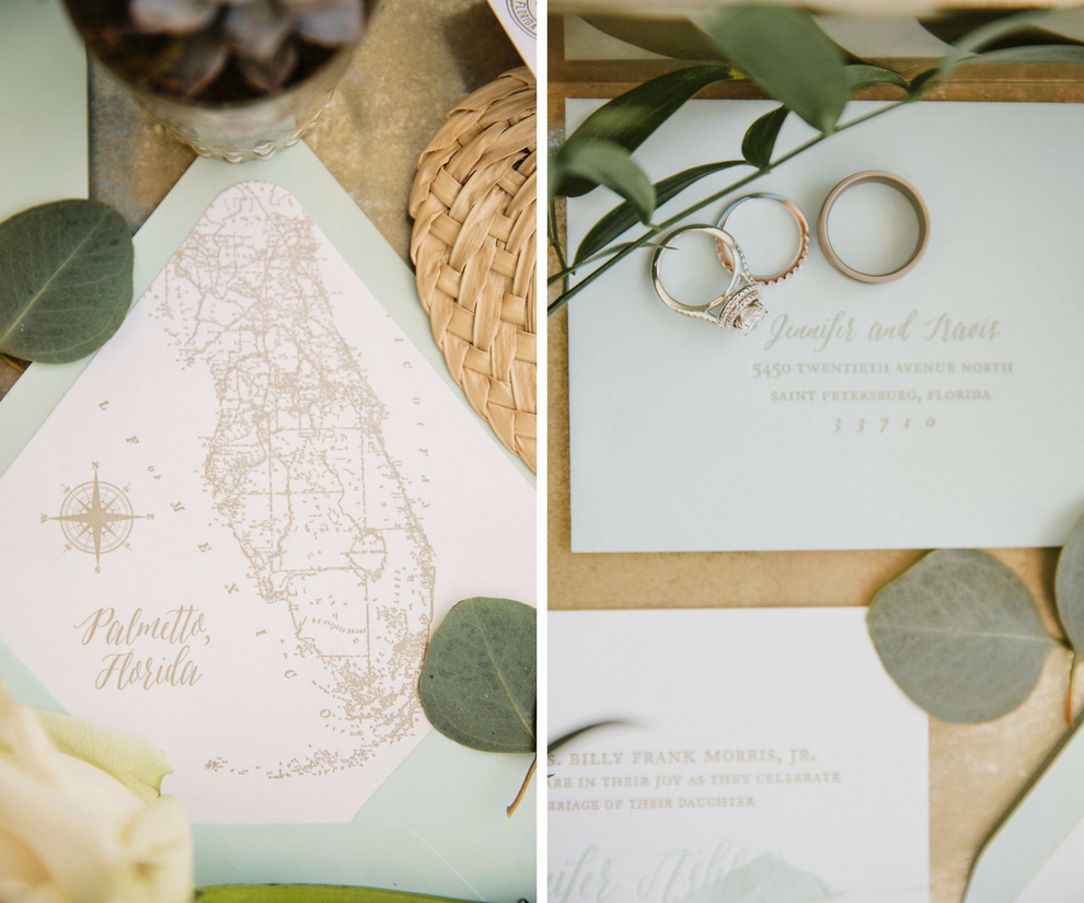 Sea Foam Green Wedding Invitation Suite with Vintage Florida Map and Engagement Ring and Wedding Bands