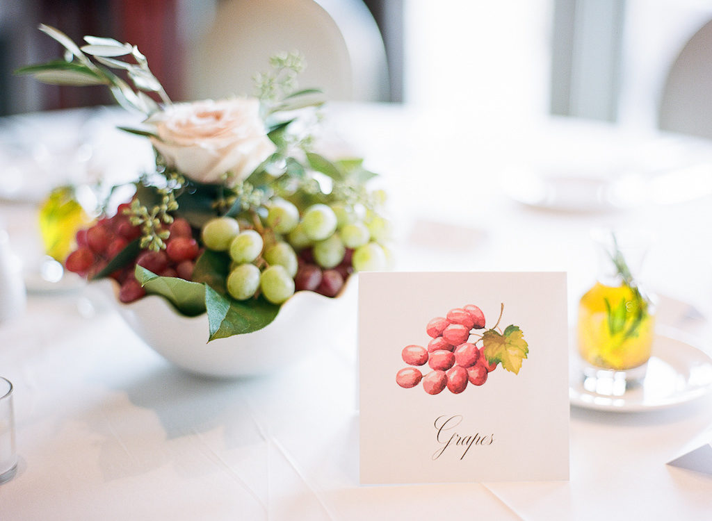 Organic Natural Wedding Reception with Grape and Blush Rose Centerpiece and Fruit Table Markers