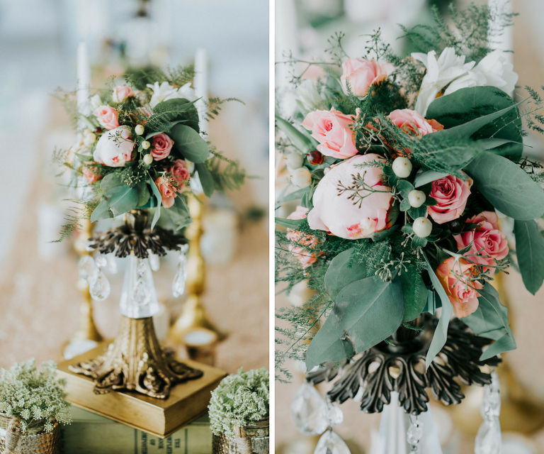 Rustic Vintage Wedding Reception Decor Pink and Blush Rose Centerpiece with Greenery in Antique Brass and Chrystal Vases