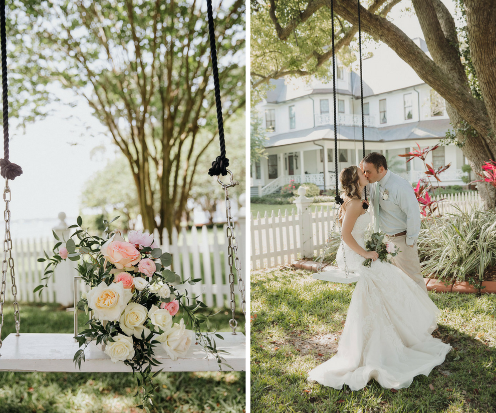 Bride and Groom Outdoor Garden Wedding Portrait on Swing, with White Rose and Pink Peony Bouquet, Groom in Blue Shirt, Sea Foam Green Tie and White Floral Boutonniere with Greenery | Tampa Bay Wedding Venue Palmetto Riverside Bed and Breakfast