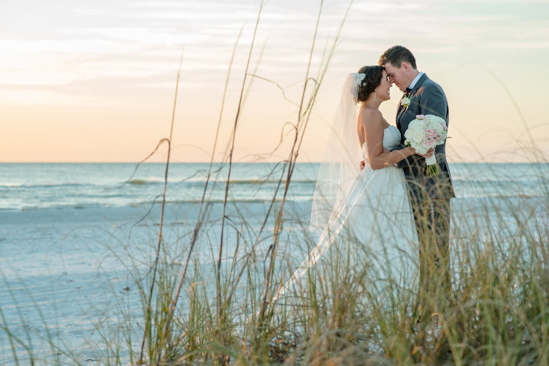 Outdoor Beach Wedding Portrait with Pink and White Bouquet, Groom in Gray Suit   St Petersburg Florida Wedding Venue The Don Cesar   Tampa Bay Wedding Photographer Caroline and Evan Photography