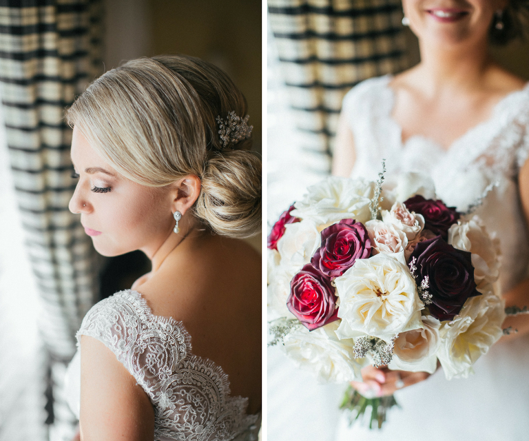 Bride Getting Ready Portrait wearing Lace V Neck Wedding Dress with Cream, Red, and Burgundy Rose Bouquet | Tampa Bay Wedding Photographer Rad Red Creative