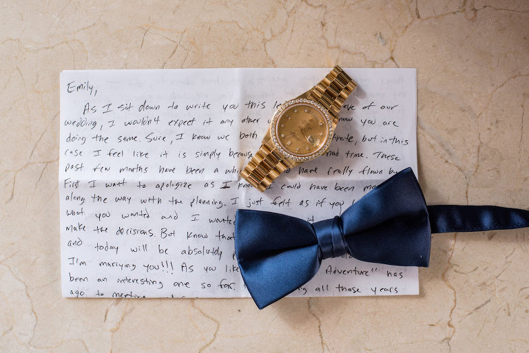 Groom Details Photo with Letter to Bride and Blue Silk Bow TIe and Gold Watch