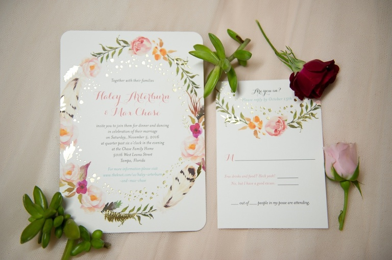 Floral and Gold Foil Wedding Invitation Suite