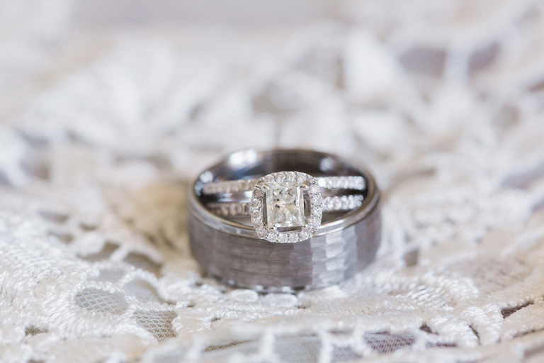 Engagement Ring with Hammered Wedding Band