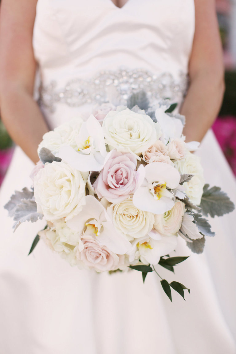 White Orchid, Cream and Blush Rose and Greenery Wedding Bouquet