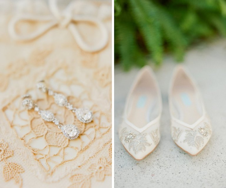 Chrystal Drop Bridal Earrings and Cream Lace Pointed Toe Flat Wedding Shoes