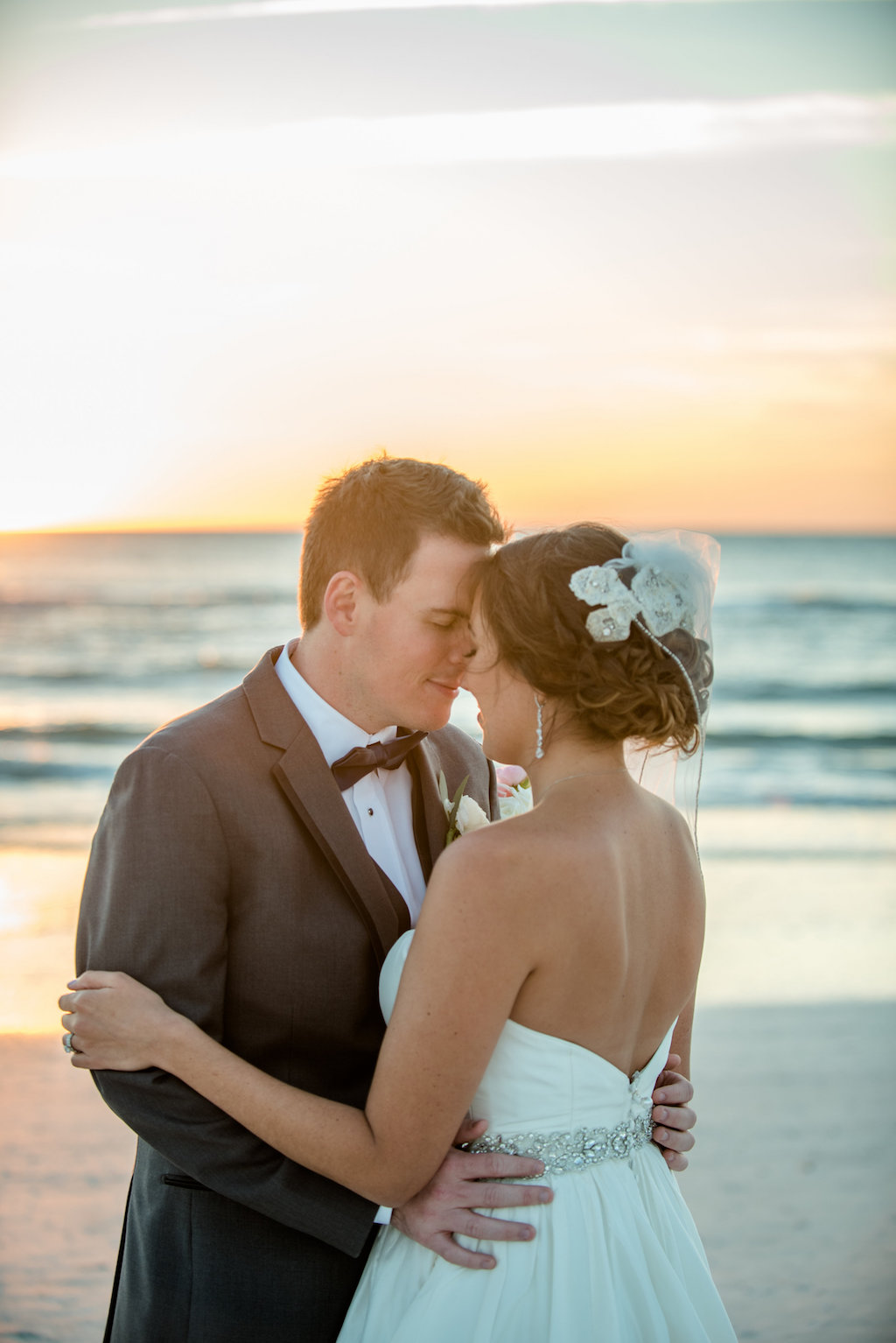 Outdoor Beach Wedding Portrait with Pink and White Bouquet, Groom in Gray Suit | St Petersburg Florida Wedding Venue The Don Cesar | Tampa Bay Wedding Photographer Caroline and Evan Photography
