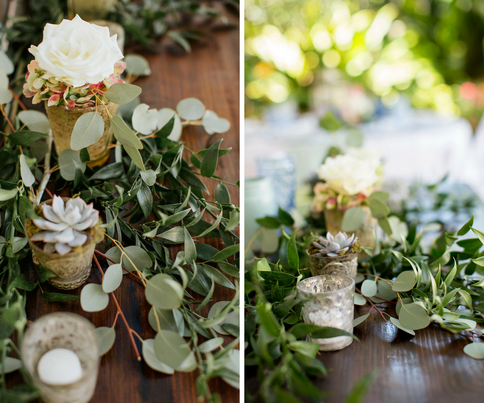 Romantic Vintage Outdoor Wedding Reception Decor | Wood Table with Succulent and Greenery Centerpieces