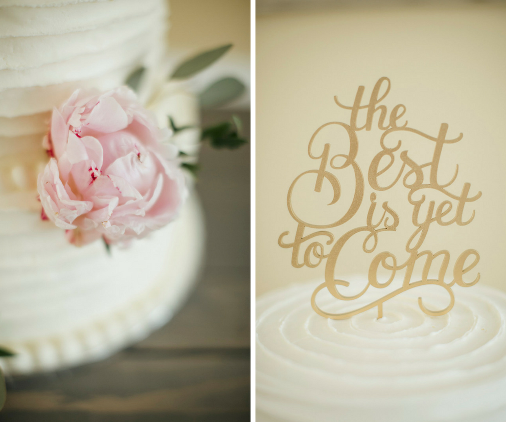 Two-Tier Round White Wedding Cake | Vintage Wedding Cake with Blue Pink Peony Accents and Laser Cut Cake Topper