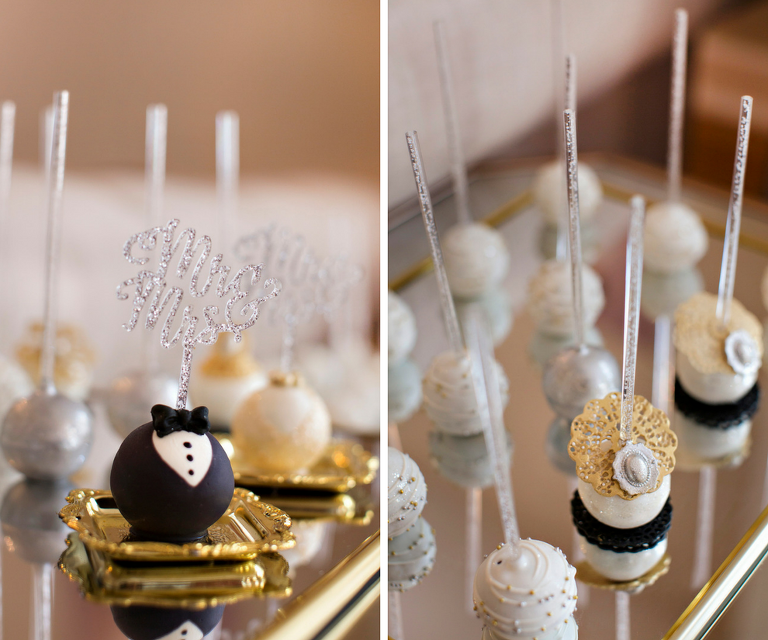 Silver and Gold and Groom Tuxedo Cake Pops | Tampa Bay Wedding Dessert Favors Pop Goes the Party