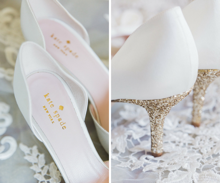 Gold Glitter Heel White Kate Spade Wedding Shoes