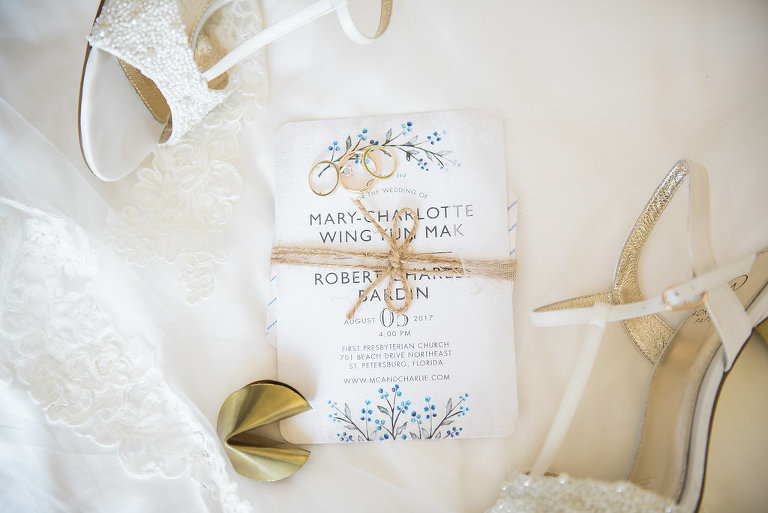 Blue Spring Nature Inspired Wedding Invitations with Twine