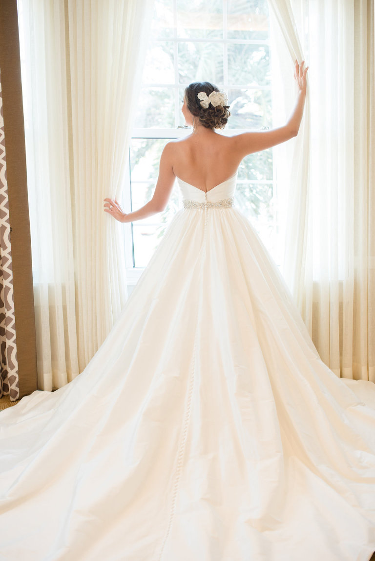 Bridal Portrait wearing Strapless Belted Wedding Dress with Royal Train | St. Pete Beach Wedding Photography Caroline & Evan Photography