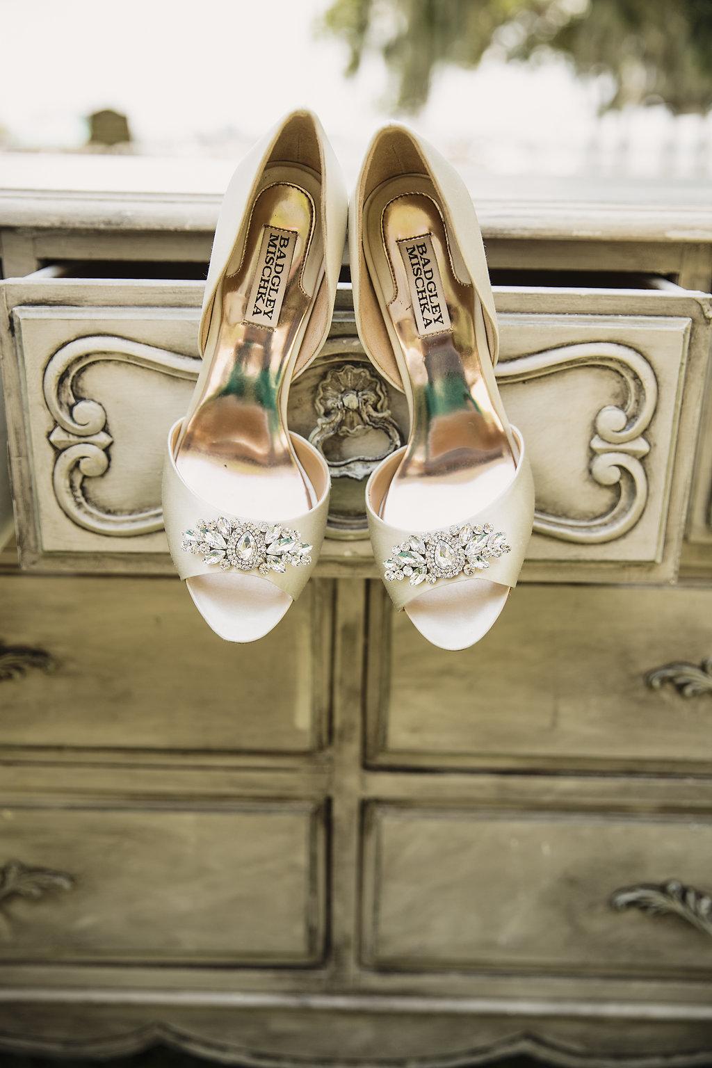 Cream Open Toed Badgley Mischka Wedding Shoes with Rhinestones