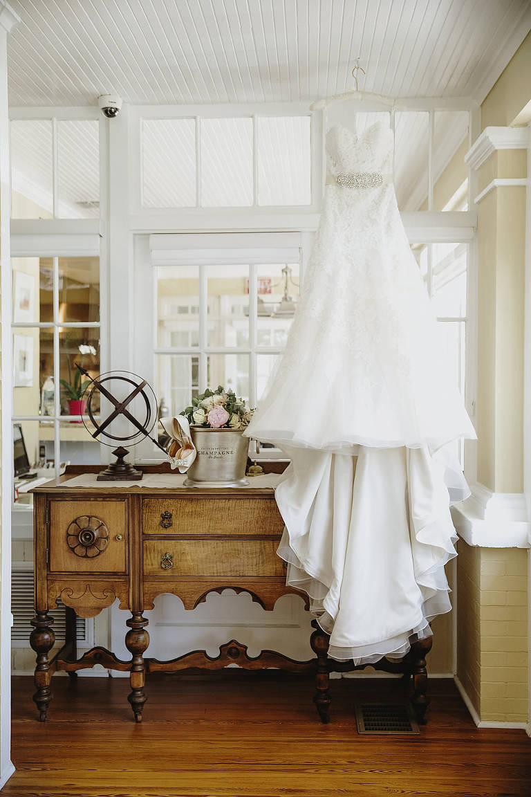A-Line Belted Sweetheart Wedding Dress on Hanger
