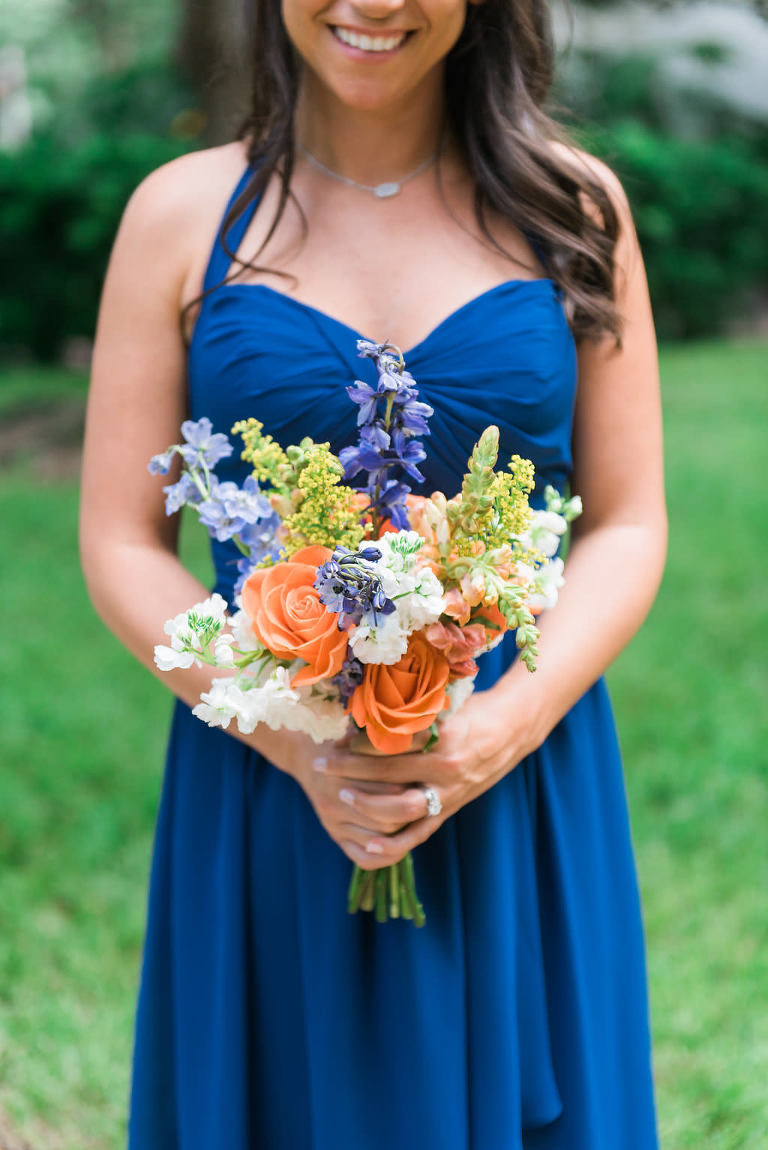 Bold Blue Sweetheart Bridesmaid Dresses with Orange and Blue Wedding Bouquet | Tampa Bay Wedding Photographer Kera Photography