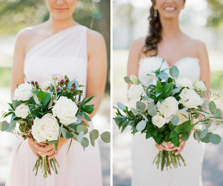Bride and Bridesmaid with Wedding Bouquet with White Roses and Natural Greenery and Red Berries | Tampa Bay Wedding