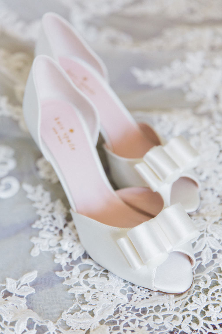 White Bow Open Toed Kate Spade Wedding Shoes