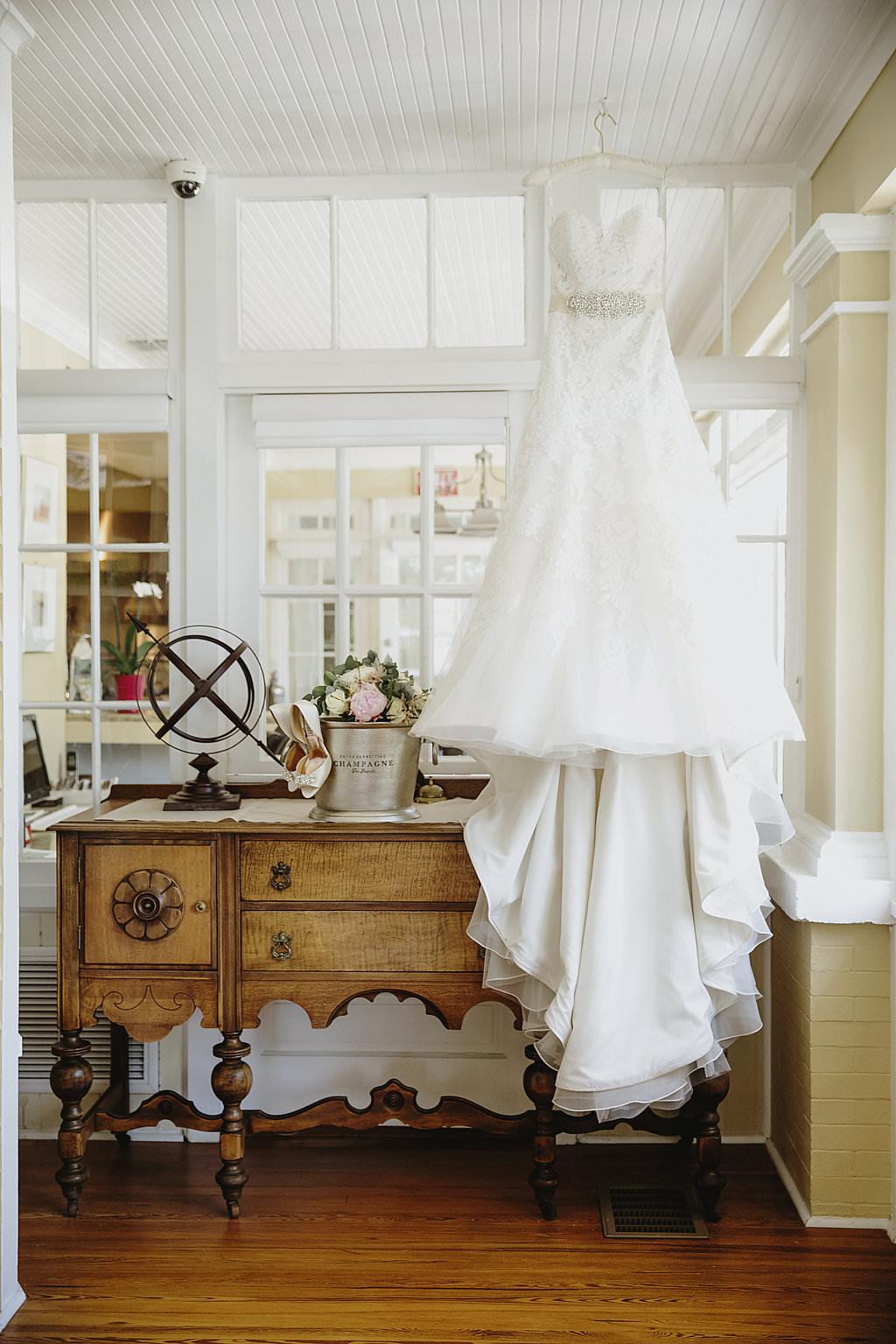 A-Line Belted Sweetheart Wedding Dress on Hanger