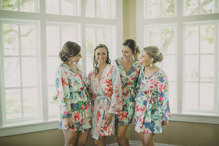 Bridal Party Getting Ready Portrait with Tropical Floral Silk Robes