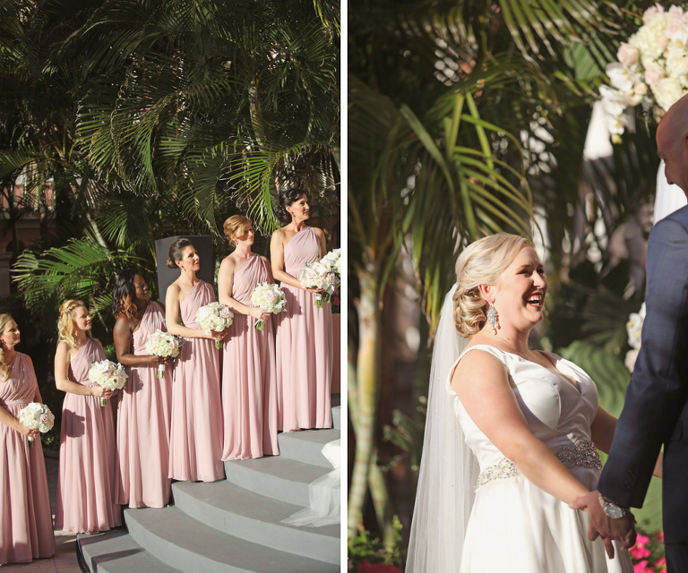 3d79927338614 Outdoor Garden Wedding Ceremony Portrait with Bridesmaids in Asymmetrical  Floor Length Lilac Purple Dresses with White