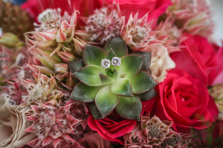 Bridal Stud Diamond Earrings on Succulent and Red Rose Wedding Bouquet